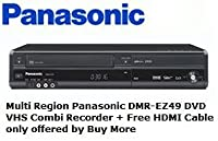 Multi Region Panasonic DMR-EZ49VEBK DVD VHS Combi Recorder + Free gold plated HDMI Cable only offered by Buy More