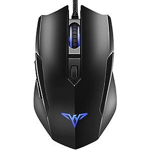 VicTop Maus Gamer Professionelle, Maus Wired Gaming Sensor Optische 6Tasten und 4dpi frei, Spieler Maus ergonomisches Design Geeignet für PC, Notebook und MacBook–Schwarz