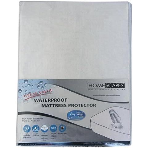 Homescapes Protector de colchón Impermeable de 180 x 200 cm elastico, Antiacaros y Hipoalergénico. Color Blanco