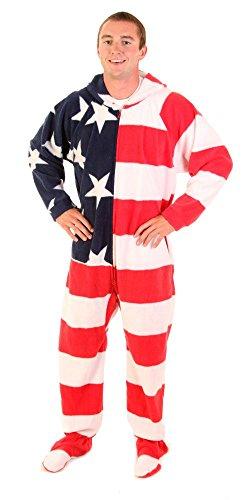 Forever Lazy Onesie/Pyjamafür Erwachsene, unisex, mit Füßen Gr. Medium, Stars and Stripes (Footed Pyjamas Pjs)