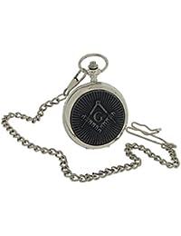 Boxx Gents Masonic Oxidised Design Cover Pocket Watch 14 Inch Chain BOXX394