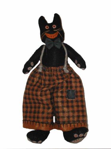 Craft Steckdose schwarz und orange Katze mit in Plaid Overalls Figur