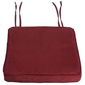 Rideaudiscount Coussin Galette de Chaise Suedine Uni EP 5 cm Rouge Bordeaux