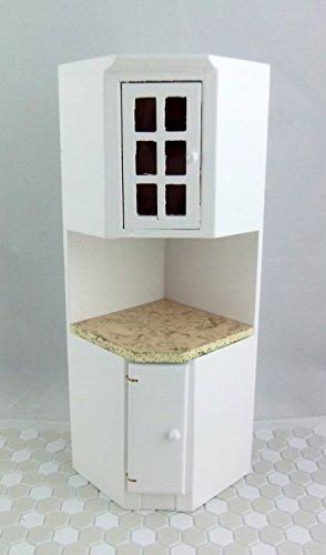 Dolls House Miniature – Küchen Möbel Küchen Ecken Einheit Weiß mit Marmor Platte