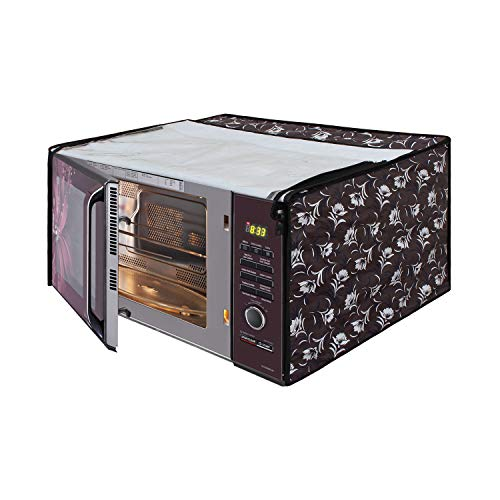 Glassiano Floral Grey Printed Microwave Oven Cover for LG 32 Litre MJ3286BRUS Convection Microwave Oven