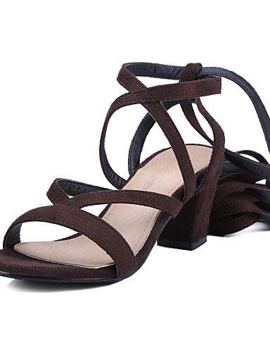 LFNLYX Chaussures Femme-Décontracté-Noir / Bleu / Marron-Talon Aiguille-Talons / Bout Ouvert-Sandales-Daim Black