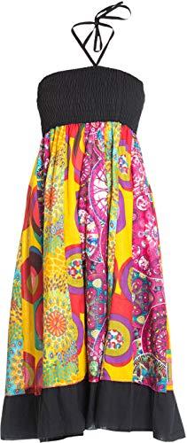 ufash Patchwork Sommerkleid mit elastischem Bund, auch als Maxirock verwendbar - Goa Gipsy Hippie-Rock, Schwarz 3