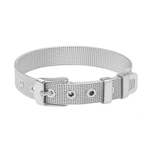 LUSERY Charm-Band Armband Damen, Edelstahl für Individuelle Anhänger Mesh Charms Edelstahl Frauen Silber Rose-Gold Silber