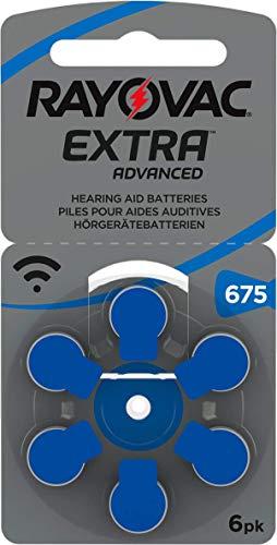 Rayovac Extra Advanced Zink Luft Hörgerätebatterie (in der Größe 675-5er Pack, mit 30 Batterien, geeignet für Hörgeräte Hörhilfen Hörverstärker) blau mit 2 Stück LUXTOR® Reinigungstüche
