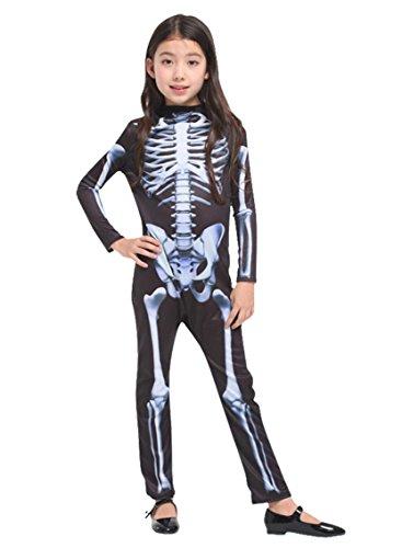 Pretty Princess Mädchen Skelett Fancy Kleid Kostüm Outfit Halloween Party