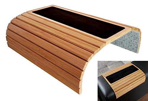 Global Quality Sofatablett für Armlehne, Bambus Holz Sofa Ablage für Armlehnen, Tisch Anti-Rutsch Armlehne Protektor Getränkehalter Untersetzer -