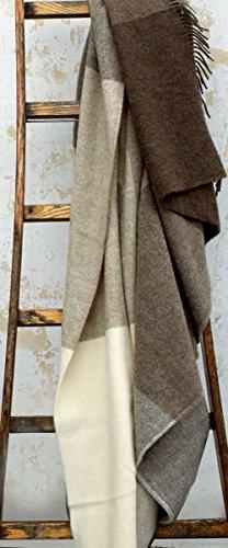 Extralange creme-braune Karo Wolldecke aus 100% naturbelassener skandinavischer Schurwolle, ca 240x140cm mit Fransen, 1100g (Braune Wolldecke, Die)