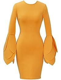 Vestido Mujer Elegante para Fiesta Ceremonia Boda Mangas Largas de Pétalo Vestido Casual de Moda Bodycon