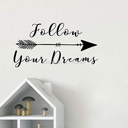 yiyiyaya Folgen Sie Ihren Träumen mit Pfeil Inspirierend Zitat Wandtattoo Vinyl Schriftzug Motivations Spruch Aufkleber Kreative Kunst Wohnkultur 30 * 58 cm