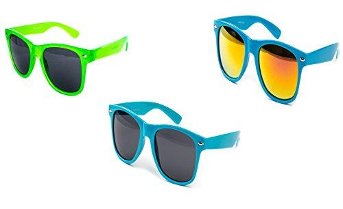 3 er Set Nerd Sonnenbrille Partybrille Festival Sunglass Atzen Brille Grün Blau Feuerverspiegelt D975