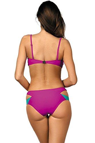 Marko Olimpia M-438 Bikini Set Dame Bademode Musterlos Abnehmbar Normaler Bund EU dunkelpink-gelb