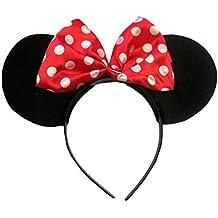 Lunares, Color Rojo y Blanco Orejas de Minnie Mouse en una diadema alice de terciopelo negro