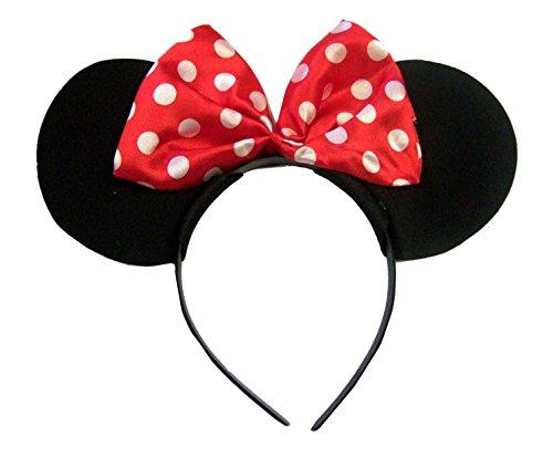Size Chart - Cerchietto Minnie Mouse con orecchie in velluto, fiocco a pois, colore: rosso/bianco/nero Multicolored Taglia unica