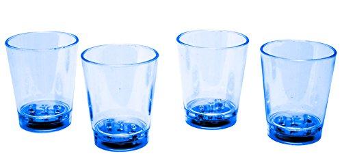 LED-Highlights Glas Becher Schnapsglas 60 ml 4 er Set LED blau Bar Kunststoff Trinkglas mit Batterie