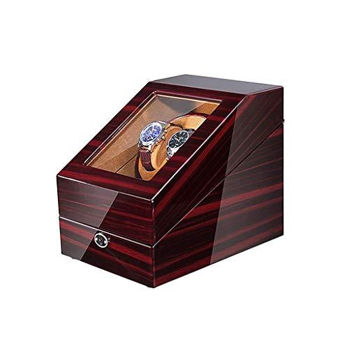TEHWDE Uhrenbeweger Mit Aufbewahrungsbox 5 Rotationsmodi Holzkessel mit Quiet Motor 5 Uhren Lagerung Display Box Uhrenbeweger Silent Box
