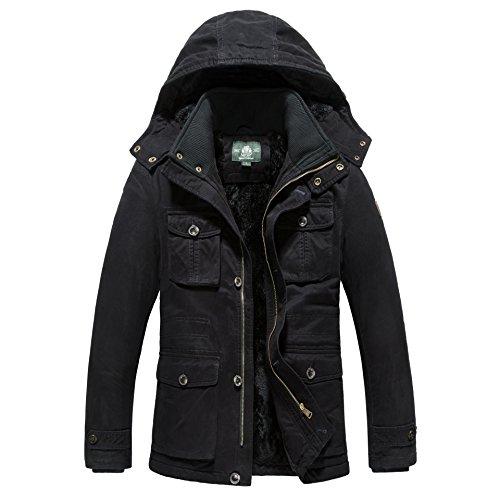 Winter Fleecejacke Herren Long Winterjacken With Hood Steppjacke schwarze Marken 879