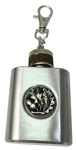 Bayern Special Mini Flachmann Schlüsselanhänger mit Eichenlaub auf Edelstahl 30 ml 1 OZ (Mini Flachmann Schlüsselanhänger)