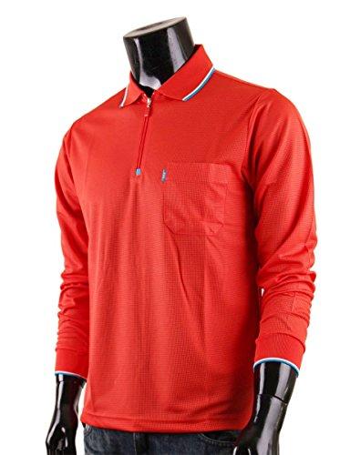 BCPOLO Herren Frontrei©¬verschluss Kragen Polohemd funktionelle Sportbekleidung L-Scharlach