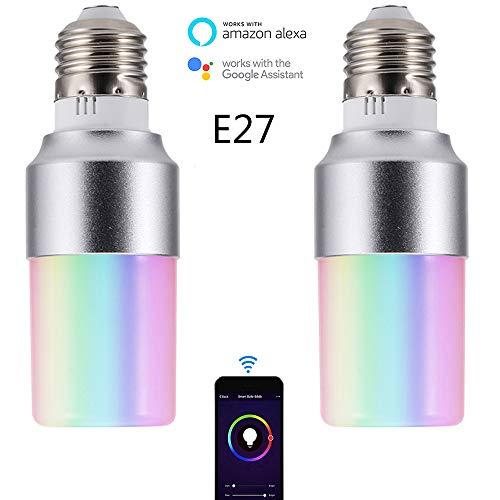 SHENGY 2PCS Neueste intelligente Glühlampe, APP-Fernsteuerungs-WiFi-Glühlampe, Dimmable Arbeit, mit Amazon Alexa Google-Haus, kann mehrfache Birnen, für Korridore, Stäbe steuern,E27