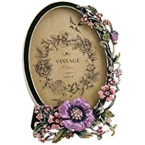 Vinatge cornice portafoto ovale, stile antico floreale