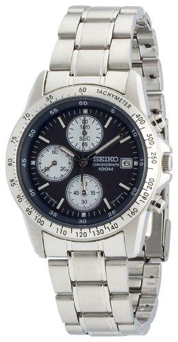 Seiko - SND365P1 - Quartz - Montre Mixte - Quartz Chronographe - Cadran Bleu - Bracelet Acier Gris