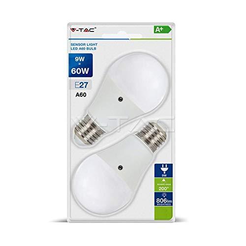 V-TAC Pack de 2bombillas LED E279W = 60W SMD bulbo con sensor
