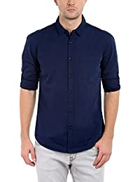 Dennis Lingo Men's Cotton Navyblue Solid Casual Shirt