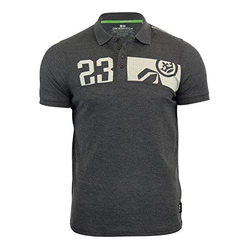 Herren Crosshatch Matrix Zwei Polohemd Baumwoll Piqué Freizeit T-shirt Kragen Top Magnet Marl