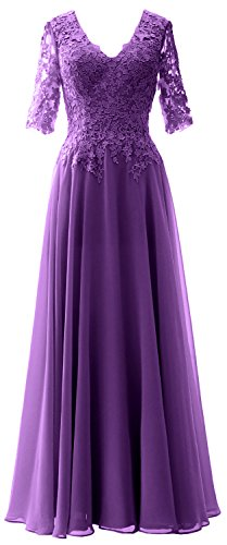 MACloth Elegant Half Sleeves Mother of Bride Dress V Neck Evening Formal Gown Regency