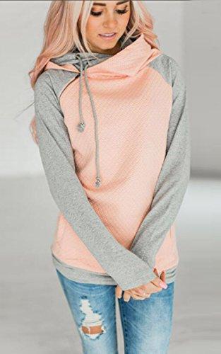 ECOWISH Damen Kontrastfarbe Pulli Pullover Rollkragen Sweatshirt Kapuzenpulli Top Hoodies Rosa M - 2