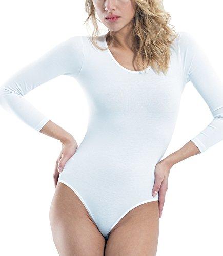 Damen T-Shirt Body Blickdicht Damenbody Baumwolle Body für Damen Unterhemden Bodysuit Rundhals Langarm (Weiß, M/L - 38/40)