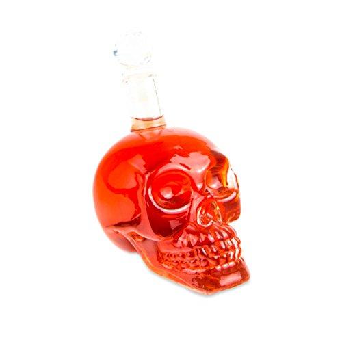 Skull - Flasche (350 ml) für die Hausbar, Party, Halloween, Geschenk im Totenkopfdesign, Vodka- Whiskey- Flasche, Kristall- Schädel, Totenkopf, Wein- Dekanter, Schnapsglas, Rock, Farbe: - Halloween-z-bar