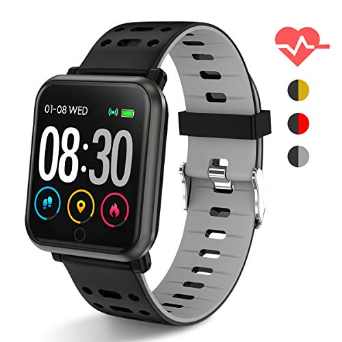Polywell Fitness Armbanduhr mit Herzfrequenz, Fitness Tracker, Bluetooth Sportuhr Aktivitätstracker Schrittzähler, Schlaf Monitor, Kalorienzähler[2 x Replaceable Watch Strap]