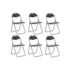 Set 6 Klappstuhl Bürostuhl Kunstleder Esszimmer schwarz