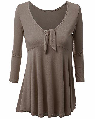 BONESUN Damen Strickhemd Sommer Swing T-Shirt Einfarbige Bluse Oberteil Tops Brust Krawatte S-3XL Kaffee