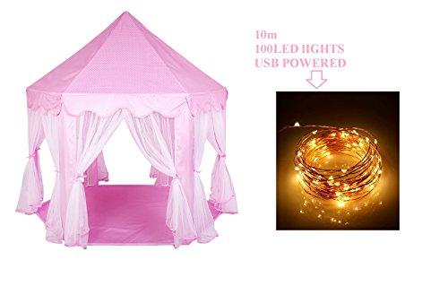 Loisleila - Kinder Spielzelt Princess Spielhaus USB Led Kupferdraht Lichterkette 100 Leds