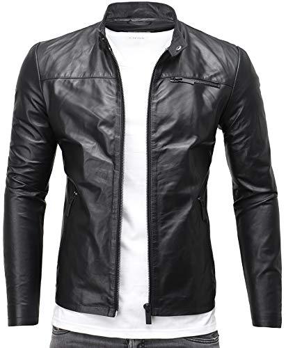 CRONE Epic Herren Lederjacke Cleane Basic Jacke aus weichem Schafs-Leder (S, Schwarz) (Herren-casual Jacke Leder)