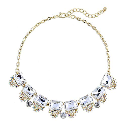 Yazilind Frauen Halskette Strass Gold Ton Kette Boho Ethnic Vintage Bunte Kragen Aussage Schlüsselbein Halsband
