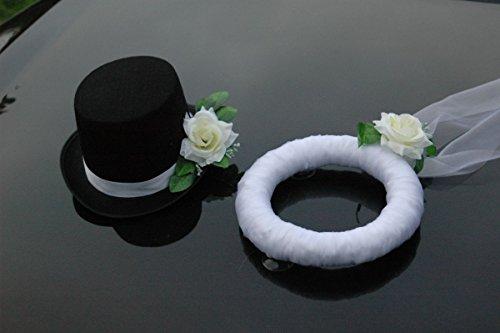 UND Hut Braut Paar Rose Dekoration Hochzeit Car Auto Wedding PKW (Ecru) 25x34x15 Schleier 25 ()
