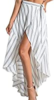 Fulok Womens Stand Striped High Low Boho Irregular Beach Skirts L White