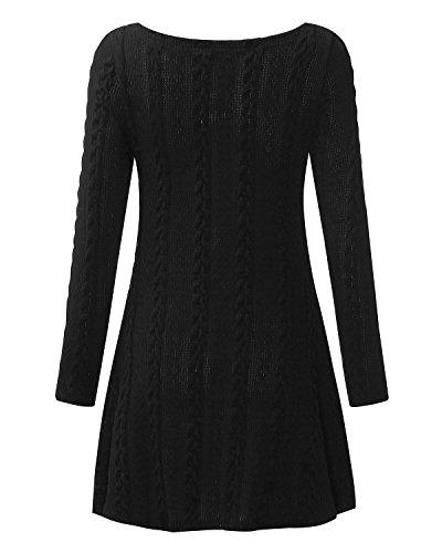 ZANZEA Donna Maglione Invernale Maglia Pizzo Vestito Corto Elegante Casual Moda Maniche Lunghe Nero senza pizzo
