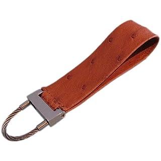 Small, Long Slim Strap, Genuine Ostrich Leather Key Fob–9x 2.5cm–Cognac