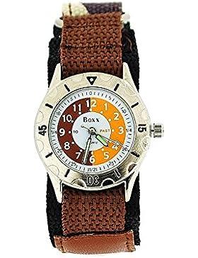 BOXX Lernuhr für Jungen braun Camouflage mit Klettverschluss Armband + Uhr Lesen Urkunde