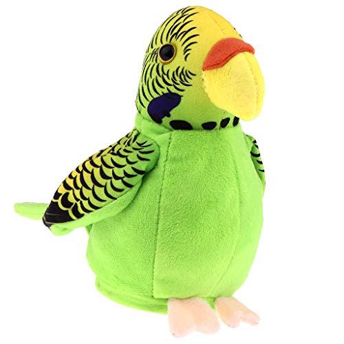 F Fityle Lustiges Plüschtier Sprechende Papagei Kuscheltier Spielzeug, kann wiederholen, was Sie Sagen - Grün