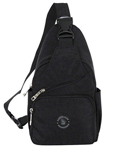 La vogue Schultertasche Umhängetasche Brusttasche Bodybag Handtasche Rucksack Canvas Schwarz